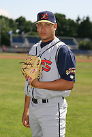 2007:  Jorge Charry of the State College Spikes poses for a photo prior to a game vs. the Batavia Muckdogs in New York-Penn League baseball action.  Photo By Mike Janes/Four Seam Images