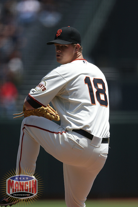 SAN FRANCISCO - MAY 17:  Matt Cain of the San Francisco Giants pitches during the game against the St. Louis Cardinals at AT&T Park on May 17, 2012 in San Francisco, California. (Photo by Brad Mangin)