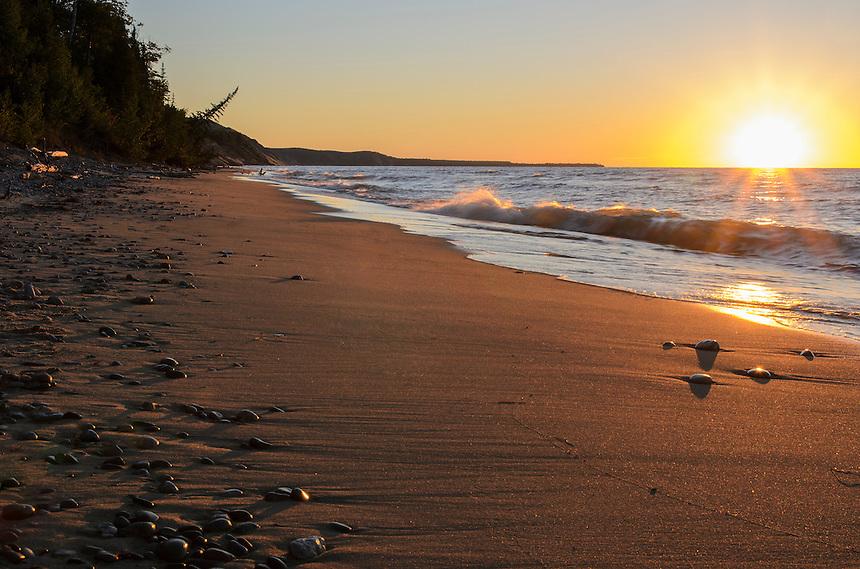 A Lake Superior sunset at the base of Grand Sable Dunes near Grand Marais, MI