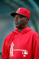 Los Angeles Angels coach Alfredo Griffin #4 before a game against the Baltimore Orioles at Angel Stadium on May 2, 2013 in Anaheim, California. Baltimore defeated Los Angeles 5-1. (Larry Goren/Four Seam Images)