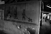 Auschwitz / Poland 2011.A mural painting inside a children's barracks, Compound BII13, at Birkenau, part of Auschwitz-Birkenau, the largest Nazi extermination camp in operation during World War II. Beginning in December of 1942, the building first housed children from Hungary and later children and young people brought in after the Warsaw Uprising in August 1944..Photo Livio Senigalliesi