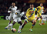Swansea, UK. Thursday 20 February 2014<br /> Pictured L-R: Nathan Dyer of Swansea marked by Marek Hamsik of Napoli<br /> Re: UEFA Europa League, Swansea City FC v SSC Napoli at the Liberty Stadium, south Wales, UK