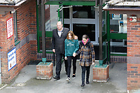 "Pictured L-R: Byron John, daughter Danielle and partner Kate Pickard  after delivering the letter to St John Lloyd School in Llanelli, Wales, UK. Friday 21 September 2018<br /> Re: The grieving father of a bullied pupil who hanged himself in school toilets is calling for the headteacher's resignation.<br /> Heartbroken Byron John claims his son Bradley, 14, would still be alive if the school had acted to stop the bullies.<br /> Mr John, 53, will hand in a formal letter of complaint to the school today (Fri) demanding head Ashley Thomas resigns.<br /> Bradley's 12-year-old sister Danielle found him dead in the toilet block at St John Lloyd Roman Catholic School in Llanelli, South Wales.<br /> Mr John claims his son had been missing for an hour before teachers refused to break down the door of the cubicle where the troubled teenager was found.<br /> Farmer Mr John said: ""I'm very unhappy at the way the school has handled things both before Bradley died, on the day it happened and since.<br /> ""There was a systematic failure of any workable anti-bullying policy.<br /> ""There was a failure to follow up our concerns and those of the healthcare professionals helping my son."""