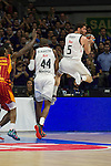 Real Madrid´s Rudy Fernandez and Marcus Slaughter and Galatasaray´s Carter during 2014-15 Euroleague Basketball match between Real Madrid and Galatasaray at Palacio de los Deportes stadium in Madrid, Spain. January 08, 2015. (ALTERPHOTOS/Luis Fernandez)