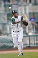 Fort Wayne TinCaps third baseman Carlos Belen (19) makes a throw to first base against the West Michigan Whitecaps on May 23, 2016 at Parkview Field in Fort Wayne, Indiana. The TinCaps defeated the Whitecaps 3-0. (Andrew Woolley/Four Seam Images)