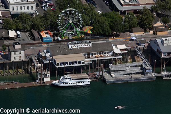 aerial photograph of the Rio City Cafe, Ferris Wheel and Riverfront Dock, Sacramento, California