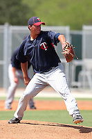 Minnesota Twins pitcher Madison Boer #30 during an Instructional League game against the Boston Red Sox at Red Sox Minor League Training Complex in Fort Myers, Florida;  October 3, 2011.  (Mike Janes/Four Seam Images)