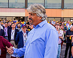 SEPT 25, 2021: Steve Asmussen reacts to Midnight Bourbon being floated wide by Flavien Prat , who wins the Gr.1 Pennsylvania Derby, for 3-year olds, going 1 1/8 mile, at Parx Racing, Bensalem, PA. Sue Kawczynski/Eclipse Sportswire/CSM