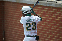 LuJames Groover III (23) of the Charlotte 49ers waits for his turn to hit during the game against the UTSA Roadrunners at Hayes Stadium on April 18, 2021 in Charlotte, North Carolina. (Brian Westerholt/Four Seam Images)