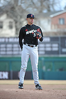 Cincinnati Bearcats pitcher Art Warren (33) during 1st game of double header against the St. John's Redstorm at Jack Kaiser Stadium on March 28, 2013 in Queens, New York. St. John's defeated Cincinnati 6-5.      . (Tomasso DeRosa/ Four Seam Images)
