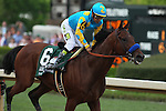 April 11, 2015: American Pharoah with jockey Victor Espinoza aboard crossing the finish line in the Arkansas Derby at Oaklawn Park in Hot Springs, AR. Justin Manning/ESW/CSM