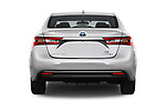 Straight rear view of a 2017 Toyota Avalon Limited Hybrid 4 Door Sedan stock images