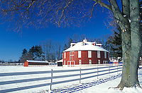 PA, Pennsylvania, Centre County, Round red barn in winter in Centre County.