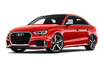 Stock pictures of low aggressive front three quarter view of a 2017 Audi RS 3 Base 4 Door Sedan