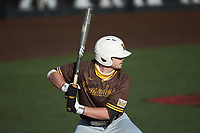 Kaleb Hannahs (15) of the Valparaiso Crusaders at bat against the Western Kentucky Hilltoppers at Nick Denes Field on March 19, 2021 in Bowling Green, Kentucky. (Brian Westerholt/Four Seam Images)