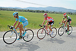 The breakaway group featuring Valerio Agnoli (ITA) Astana Pro Team, Sean De Bie (BEL) Lotto-Soudal and Muhammet Atalay (TUR) Torku Sekerspor during Stage 7 of the 2015 Presidential Tour of Turkey running 166km from Selcuk to Izmir. 2nd May 2015.<br /> Photo: Tour of Turkey/Mario Stiehl/www.newsfile.ie