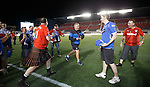 """Rangers fans with manager Ally McCoist during the post match """"meet and greet"""" session at the JD Place Stadium, Ottawa"""