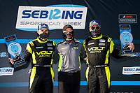 #7 VOLT Racing with Archangel Ligier JS P320, P3-1: Trent Hindman, Alan Brynjolfsson, Mike Johnson <br /> Winners, Victory Lane