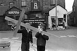 Good Friday Walk of Witness, Christian Procession suburbs of Liverpool near Burscough Lancashire Easter Good Friday 1974