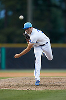 Burlington Royals relief pitcher Austin Lambright (38) delivers a pitch to the plate against the Johnson City Cardinals at Burlington Athletic Stadium on July 15, 2018 in Burlington, North Carolina. The Cardinals defeated the Royals 7-6.  (Brian Westerholt/Four Seam Images)