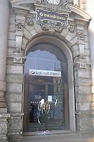 - Milan. the headquarters of Banca Unicredit in Cordusio square smeared with paint during Mayday Parade demonstration....- Milano, la sede di Unicredit Banca in piazza Cordusio imbrattata di vernice durante la manifestazione Mayday Parade