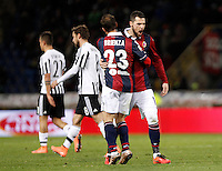 Calcio, Serie A:  Bologna vs Juventus. Bologna, stadio Renato Dall'Ara, 19 febbraio 2016. <br /> Bologna's Franco Brienza and Mattia Destro, right, congratulate each other as Juventus' Paulo Dybala, left, and Claudio Marchisio leave the pitch at the end of the Italian Serie A football match between Bologna and Juventus at Bologna's Renato Dall'Ara stadium, 19 February 2016. The game ended 0-0.<br /> UPDATE IMAGES PRESS/Isabella Bonotto