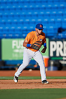 St. Lucie Mets first baseman Jeremy Vasquez (16) during a game against the Daytona Tortugas on August 3, 2018 at First Data Field in Port St. Lucie, Florida.  Daytona defeated St. Lucie 3-2.  (Mike Janes/Four Seam Images)