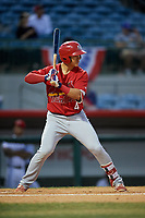 Palm Beach Cardinals third baseman Evan Mendoza (4) at bat during a game against the Florida Fire Frogs on May 1, 2018 at Osceola County Stadium in Kissimmee, Florida.  Florida defeated Palm Beach 3-2.  (Mike Janes/Four Seam Images)