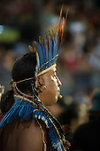 A Bororo chief watches his team during the tug-of-war at the International Indigenous Games, in the city of Palmas, Tocantins State, Brazil. Photo © Sue Cunningham, pictures@scphotographic.com 31st October 2015