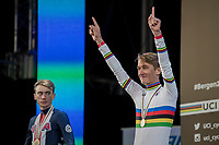 Mikkel Bjerg (DEN) is the new U23 men's iTT World Champion with silver medalist Brandon Mcnulty (USA) looking a bit jealous...<br /> <br /> Men Under-23 Individual Time Trial<br /> <br /> UCI 2017 Road World Championships - Bergen/Norway