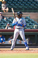 Surprise Saguaros designated hitter Vladimir Guerrero Jr. (27), of the Toronto Blue Jays organization, at bat during an Arizona Fall League game against the Scottsdale Scorpions at Scottsdale Stadium on October 26, 2018 in Scottsdale, Arizona. Surprise defeated Scottsdale 3-1. (Zachary Lucy/Four Seam Images)