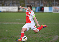 20150428 - VARSENARE , BELGIUM : Standard's Maud Coutereels   pictured in action during the soccer match between the women teams of Club Brugge Vrouwen and Standard de Liege Femina , on the 24th matchday of the BeNeleague competition Tuesday 28 th April 2015 in Varsenare . PHOTO DAVID CATRY