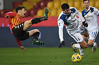 Federico Barba of Benevento Calcio and Matteo Pessina of Atalanta BC compete for the ball during the Serie A football match between Benevento Calcio and Atalanta BC at Ciro Vigorito stadium in Benevento (Italy), January 9th, 2021. Photo Andrea Staccioli / Insidefoto