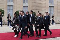 Paris (75)- Palais de l'Elysee- Ceremonie d installation de M. Emmanuel MACRON, PrÈsident de la RÈpublique, le dimanche 14 mai , Les membres de l'Èquipe de campagne d'Emmanuel Macron. Arnaud Leroy, responsable des relations publiques de la RÈpublique de Marche (EMA) Sibeth Ndiaye, Benjamin Griveaux, Jean-Marie Girier, Benjamin Griveaux, le secrÈtaire gÈnÈral du parti Richard Ferrand, Julien Denormandie et arrivent Au palais prÈsidentiel de l'ElysÈe pour assister ‡ la cÈrÈmonie officielle d'inauguration d'Emmanuel Macron