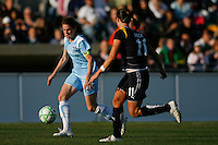 Heather O'Reilly (9) of Sky Blue FC is shadowed by Brittany Bock (11). The Los Angeles Sol defeated Sky Blue FC 2-0 during a Women's Professional Soccer match at TD Bank Ballpark in Bridgewater, NJ, on April 5, 2009. Photo by Howard C. Smith/isiphotos.com