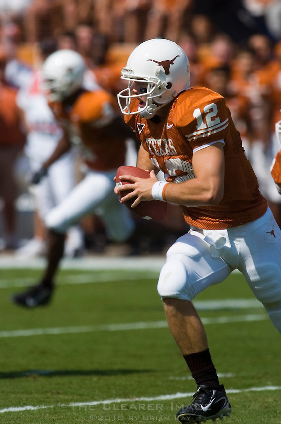 02 September 2006: University of Texas quarterback Colt McCoy sprints down field during the Longhorns 56-7 victory over the University of North Texas at Darrell K Royal Memorial Stadium in Austin, TX.