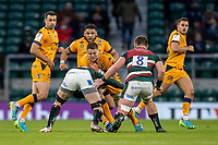 21st May 2021; Twickenham, London, England; European Rugby Challenge Cup Final, Leicester Tigers versus Montpellier; Paul Willemse of Montpellier Rugby is tackled