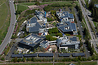 aerial photograph of Google, Alphabet headquarters, Mountain View, Santa Clara county, California