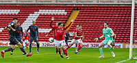 21st November 2020, Oakwell Stadium, Barnsley, Yorkshire, England; English Football League Championship Football, Barnsley FC versus Nottingham Forest; Styles of Barnsley block the goalbound shot