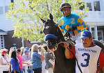 July 29, 2012 Paynter in the paddock before the Haskell. Paynter, Rafael Bejarano up, wins the 45th running of the Haskell Invitational at Monmouth Park Racetrack, Oceanport, New Jersey. Trainer is Bob Baffert. ©Joan Fairman Kanes/Eclipse Sportswire