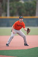 Nate Arnold (65), from Lincoln, Illinois, while playing for the Orioles during the Baseball Factory Pirate City Christmas Camp & Tournament on December 30, 2017 at Pirate City in Bradenton, Florida.  (Mike Janes/Four Seam Images)