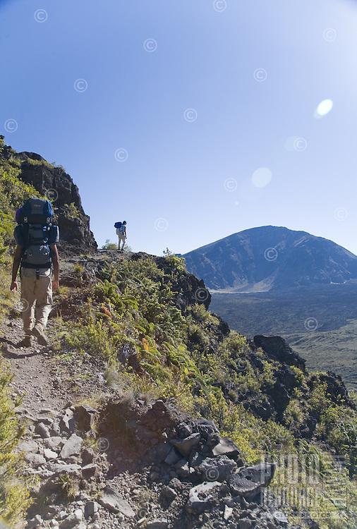 Friends walking up the Halemaumau Trail in Haleakala National Park