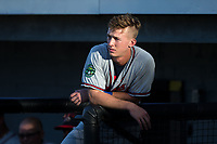 Drew Waters (12) of the Danville Braves prior to the game against the Burlington Royals at Burlington Athletic Stadium on August 15, 2017 in Burlington, North Carolina.  The Royals defeated the Braves 6-2.  (Brian Westerholt/Four Seam Images)