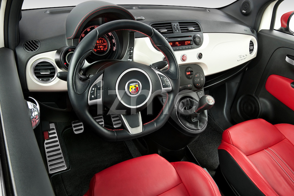 High angle dashboard view of a 2009 Fiat 500 Abarth 3 door hatchback