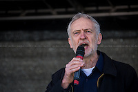"""Jeremy Corbyn MP (Labour Member of Parliament for Islington North).<br /> <br /> London, 22/03/2014. """"Stand Up To Racism & fascism - No to Scapegoating Immigrants, No to Islamophobia, Yes to Diversity"""", national demo marking UN Anti-Racism Day organised by TUC (Trade Union Congress) and UAF (Unite Against Fascism).<br /> <br /> For more information please click here: http://www.standuptoracism.org.uk/"""