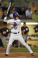 LSU Tigers outfielder Jared Foster #17 at the plate against the Mississippi State Bulldogs during the NCAA baseball game on March 16, 2012 at Alex Box Stadium in Baton Rouge, Louisiana. LSU defeated Mississippi State 3-2 in 10 innings. (Andrew Woolley / Four Seam Images)