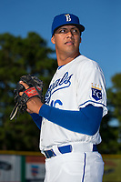 Burlington Royals pitcher Carlos Hernandez (16) poses for a photo prior to the game against the Danville Braves at Burlington Athletic Stadium on August 12, 2017 in Burlington, North Carolina.  The Braves defeated the Royals 5-3.  (Brian Westerholt/Four Seam Images)