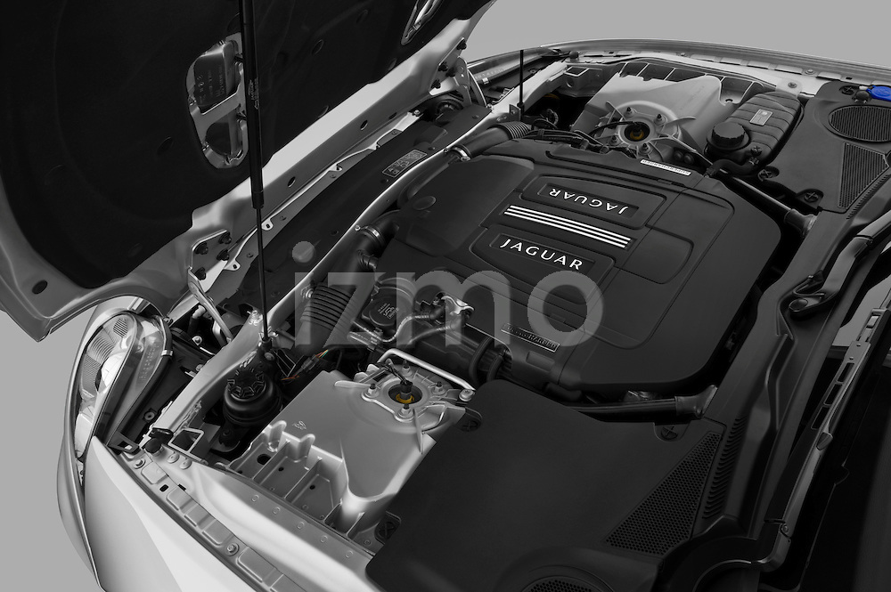 High angle engine detail of a 2011 Jaguar XKR Convertible .