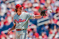 23 August 2018: Philadelphia Phillies pitcher Aaron Nola on the mound against the Washington Nationals at Nationals Park in Washington, DC. The Phillies shut out the Nationals 2-0 to take the 3rd game of their 3-game mid-week divisional series. Mandatory Credit: Ed Wolfstein Photo *** RAW (NEF) Image File Available ***