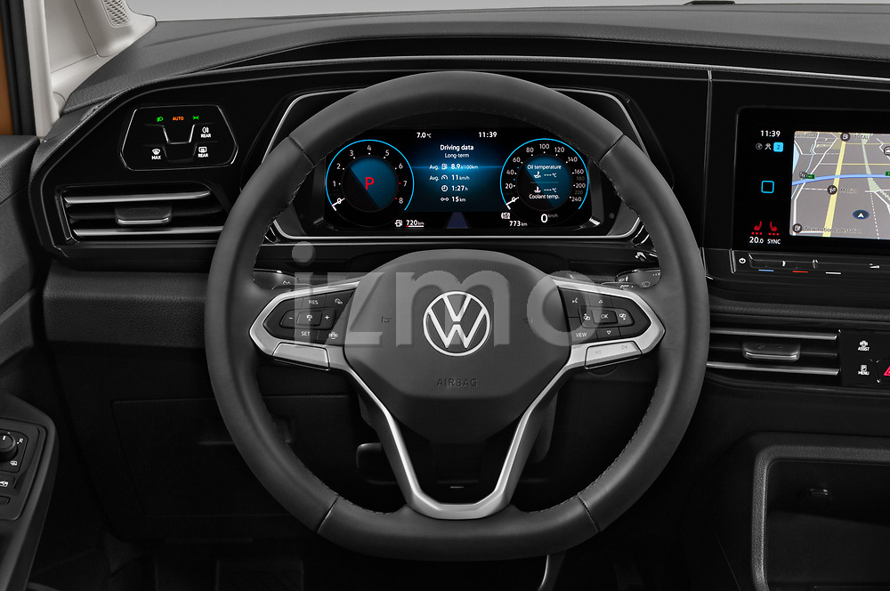 Car pictures of steering wheel view of a 2021 Volkswagen Caddy Style 5 Door Mini MPV Steering Wheel
